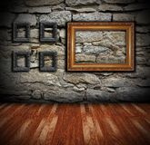 Interior backdrop with painting frames Stock Image