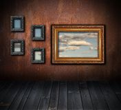 Interior backdrop with view to the sky Royalty Free Stock Photo