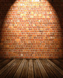 Wooden Floor against Brick Wall Royalty Free Stock Image