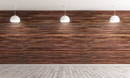 Interior background 3d render. Empty interior background, room with brown wood paneling wall and hardwood flooring, three white lamps 3d rendering Stock Photography