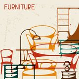Interior background with furniture in retro style stock illustration