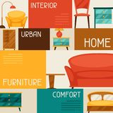 Interior background with furniture in retro style Stock Images