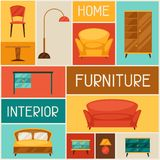 Interior background with furniture in retro style Royalty Free Stock Images