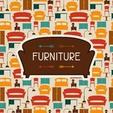 Interior background with furniture in retro style Royalty Free Stock Image