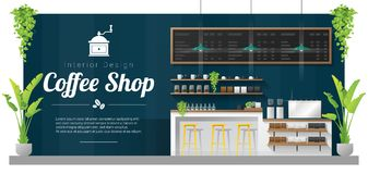 Interior background , modern coffee shop counter bar scene. Vector , illustration stock illustration