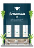 Interior background , modern restaurant with tables and chairs scene vector illustration