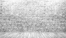 Interior background of room with brick wall and wooden floor 3d Stock Image
