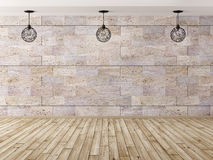 Interior background with three lamps 3d rendering Stock Image
