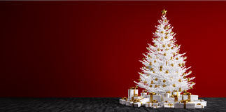 Interior background with white christmas tree 3d render Royalty Free Stock Photo
