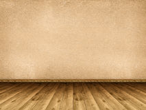 Interior background - wooden floor and rough wall Stock Photography