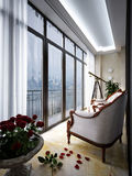 Interior of balcony with armchairs and small table. 3d rendering Royalty Free Stock Photos