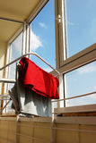Interior of balcony with drying washing. On the rails stock photos