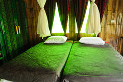 Interior, Bamboo house. Interior, bedroom in Bamboo house Stock Image