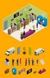 Interior Bank Office and Elements Part Isometric View. Vector. Interior Bank Office and Elements Part Isometric View Furniture, Equipment and Worker or Client Royalty Free Stock Image