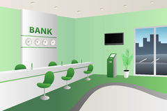 Interior bank room white reception green chair illustration Royalty Free Stock Photography