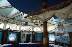 Interior of banquet hall of restaurant Santa Maria in Mogilev, Belarus Stock Images