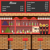 Interior of the bar with board menu. Cocktail drink, glass and alcohol, wine bottle, shelf and martini, beer and stool, vector illustration Stock Photo