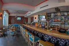 Interior of a bar with oriental stylized decorations Royalty Free Stock Image