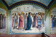 Interior of the Barbara Church in Pochaev Lavra, the painting on Royalty Free Stock Image