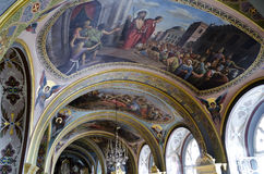 Interior of the Barbara Church in Pochaev Lavra, the painting on Royalty Free Stock Images