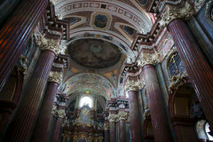 Interior of Baroque Collegiate Church in Poznan Royalty Free Stock Photo