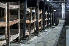 The interior of a barrack at the Auschwitz-Birkenau Concentration Camp in Poland. Royalty Free Stock Photos