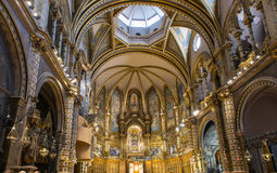 Interior of Basilica in Abbey of Montserrat near Barcelona, in Catalonia Stock Photo