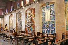 Interior of the Basilica of the Annunciation or Church of the Annunciation in Nazareth royalty free stock photos