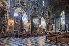 Interior of the Basilica della Santissima Annunziata in Florence. Florence, Italy – April 06, 2017: Interior of the Basilica della Santissima Annunziata royalty free stock photo