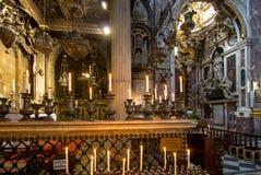 Interior of the Basilica della Santissima Annunziata in Florence. The Basilica della Santissima Annunziata Basilica of the Most Holy Annunciation is a Roman Royalty Free Stock Photography