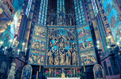 Interior of basilica in Krakow, Poland Stock Photos