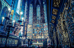 Interior of basilica in Krakow, Poland stock photo