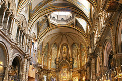 Interior of Basilica in Montserrat, Spain Royalty Free Stock Photos