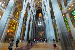 Interior Basilica of Sagrada Familia Stock Images