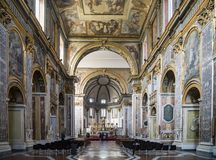 Interior of Basilica of San Paolo Maggiore in Naples, Italy. Interior of Basilica of San Paolo Maggiore, one of the most famous church in Naples, Italy stock images