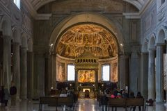 Interior of the basilica San Pietro in Vincoli Saint Peter in C royalty free stock photo