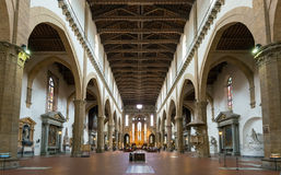 The interior of the Basilica of Santa Croce in Florence Royalty Free Stock Images