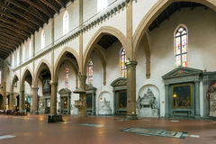 The interior of the Basilica of Santa Croce in Florence Royalty Free Stock Photo