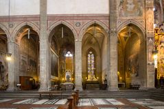 The interior of the Basilica of Santa Croce. The Basilica of Santa Croce is one of the main Florence attractions of the Renaissance, Tuscany, Italy royalty free stock image