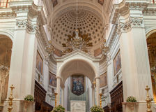 Interior of the Basilica of St. Lawrence the Martyr is the cathedral in Trapani Stock Images