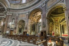 Interior of basilica of St. Mary of the Angels and the Martyrs Royalty Free Stock Image