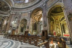 Interior of basilica of St. Mary of the Angels and the Martyrs Stock Image