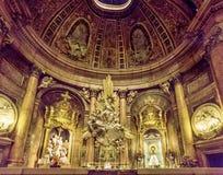 Interior of the basilica of the Virgen del Pilar, Zaragoza, Aragon, Spain. ZARAGOZA, SPAIN - MARCH 24, 2016: Interior of the basilica of the Virgen del Pilar Royalty Free Stock Photography