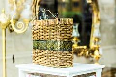 Interior basket. Interior detail. Wicker baskets in interior shop Royalty Free Stock Photos
