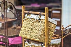 Interior basket. Interior detail. Wicker baskets in interior shop Stock Photos
