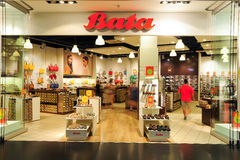 Interior of Bata fashion shoes store Stock Photography