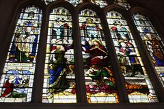 Stained glass in interior of Bath Abbey. Interior of Bath Abbey (The Abbey Church of Saint Peter and Saint Paul, Bath Royalty Free Stock Photo