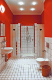 Interior of bath room. Interior of red bath room royalty free stock image