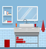 Interior bathroom. Interior of blue fresh bathroom with wash stand and mirror Royalty Free Stock Photo