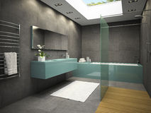 Interior of bathroom with ceiling window 3D rendering 5 Stock Photo
